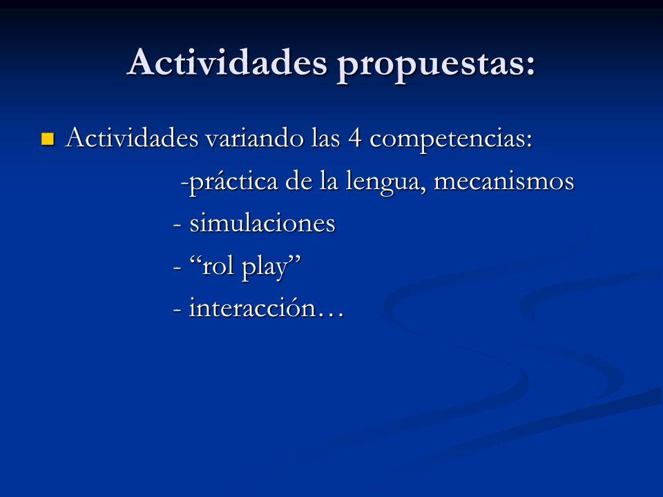 Actividades propuestas: Actividades variando las 4 competencias: Actividades variando las 4 competencias: -práctica de la lengua, mecanismos -práctica