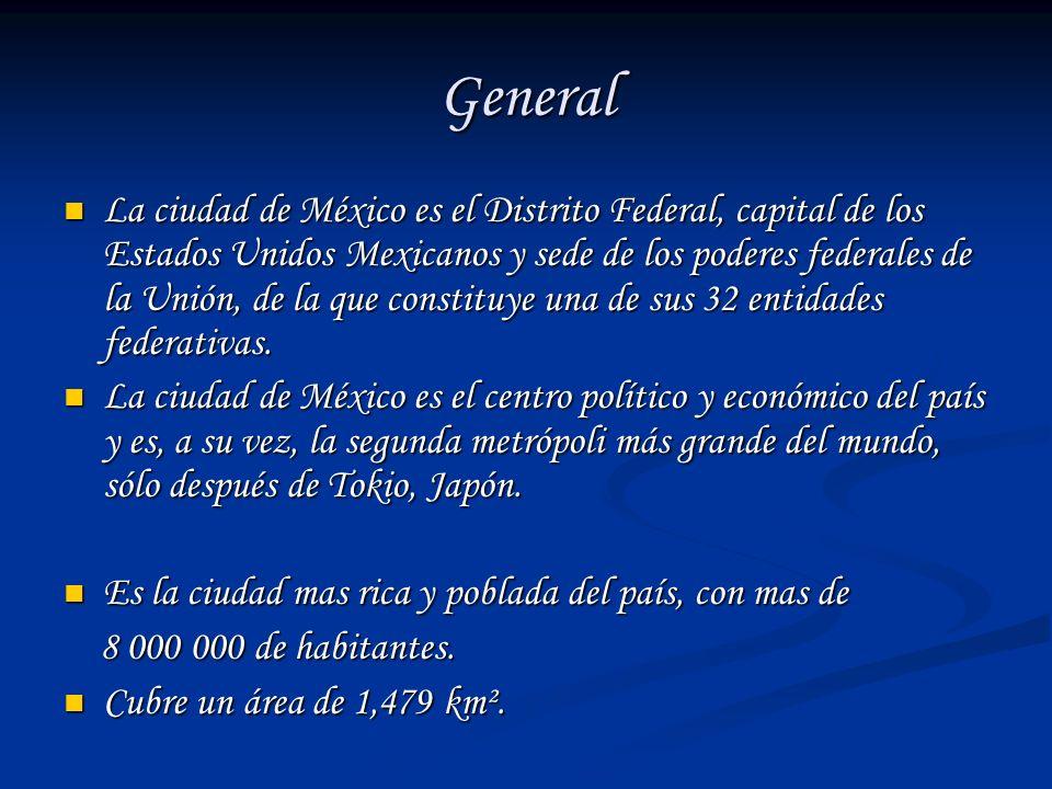 General La ciudad de México es el Distrito Federal, capital de los Estados Unidos Mexicanos y sede de los poderes federales de la Unión, de la que con