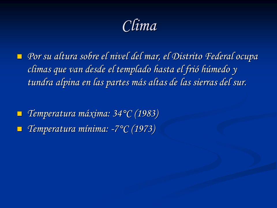 Clima Por su altura sobre el nivel del mar, el Distrito Federal ocupa climas que van desde el templado hasta el frió húmedo y tundra alpina en las par