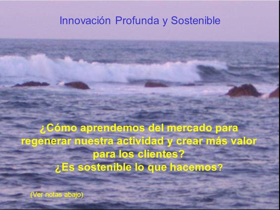 ¿Cómo aprendemos del mercado para regenerar nuestra actividad y crear más valor para los clientes? ¿Es sostenible lo que hacemos ? Innovación Profunda