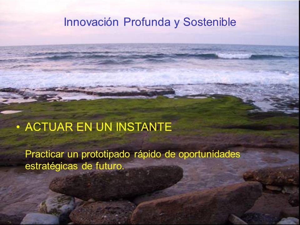 ACTUAR EN UN INSTANTE Practicar un prototipado rápido de oportunidades estratégicas de futuro. Innovación Profunda y Sostenible