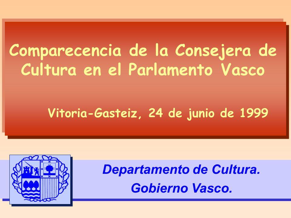 Comparecencia de la Consejera de Cultura en el Parlamento Vasco Departamento de Cultura. Gobierno Vasco. Vitoria-Gasteiz, 24 de junio de 1999
