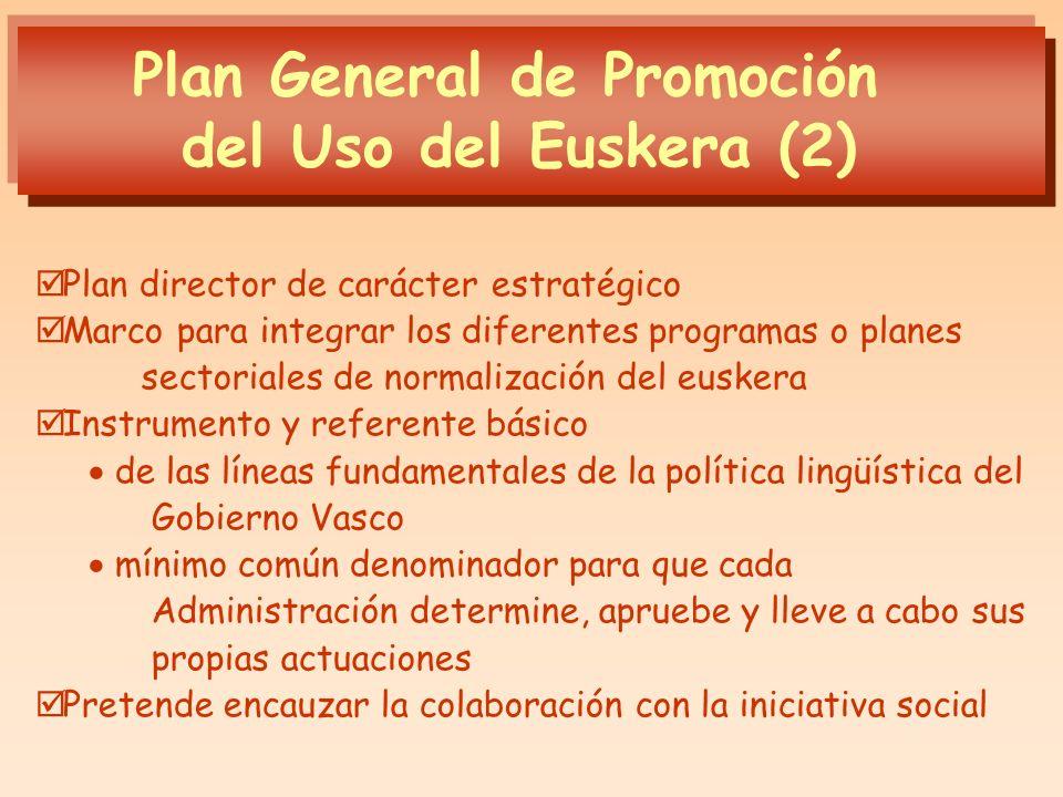 Plan General de Promoción del Uso del Euskera (2) Plan director de carácter estratégico Marco para integrar los diferentes programas o planes sectoria