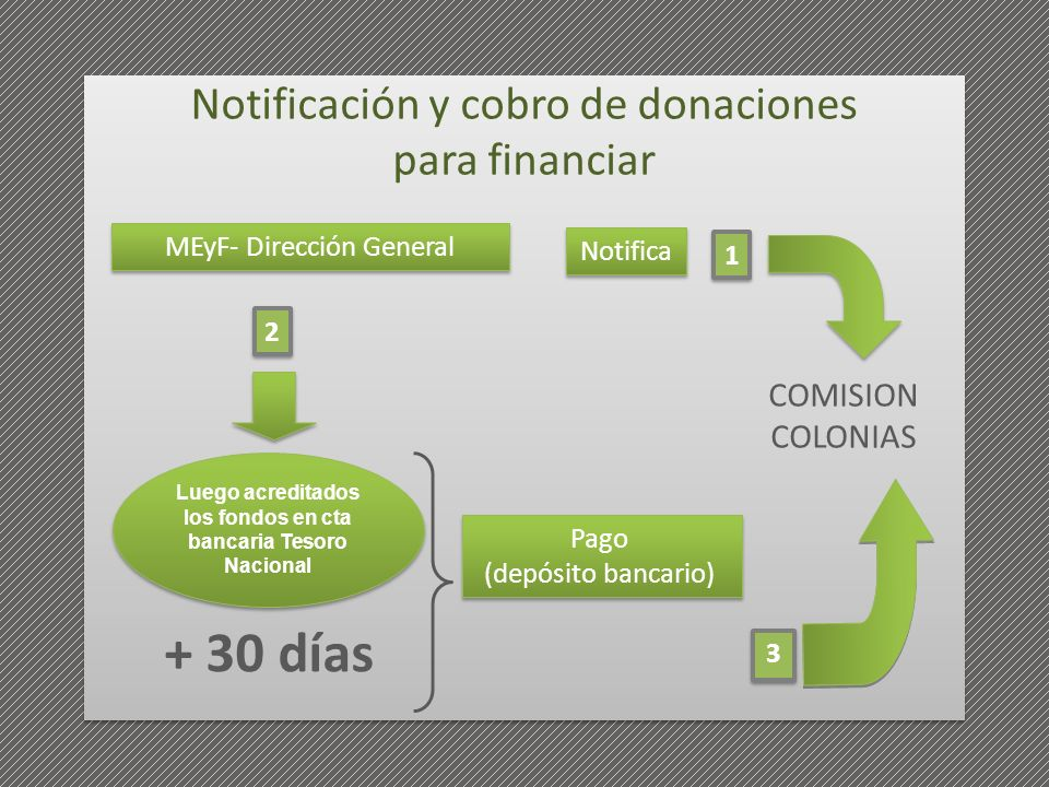 COMISION COLONIAS MEyF- Dirección General Luego acreditados los fondos en cta bancaria Tesoro Nacional Notifica + 30 días Pago (depósito bancario) Pag