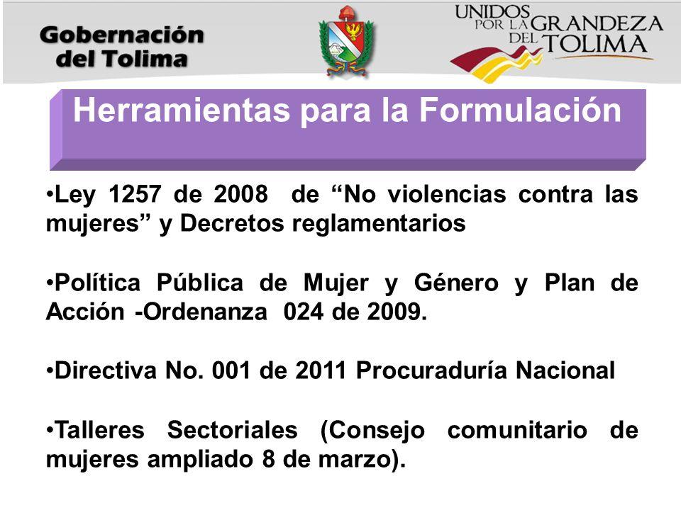 Ley 1257 de 2008 de No violencias contra las mujeres y Decretos reglamentarios Política Pública de Mujer y Género y Plan de Acción -Ordenanza 024 de 2