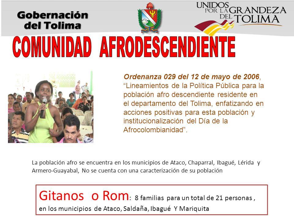 Gitanos o Rom : 8 familias para un total de 21 personas, en los municipios de Ataco, Saldaña, Ibagué Y Mariquita La población afro se encuentra en los