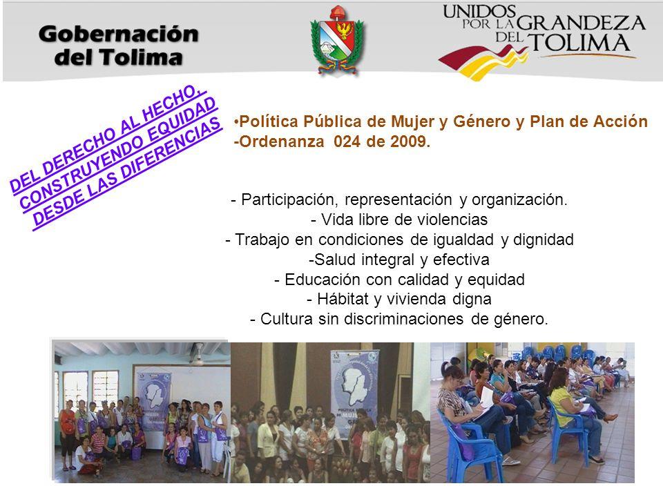 - Participación, representación y organización. - Vida libre de violencias - Trabajo en condiciones de igualdad y dignidad -Salud integral y efectiva