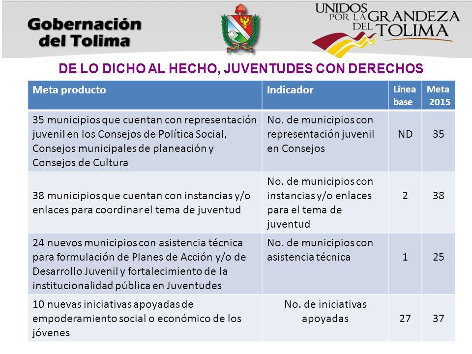 DE LO DICHO AL HECHO, JUVENTUDES CON DERECHOS Meta productoIndicador Línea base Meta 2015 35 municipios que cuentan con representación juvenil en los