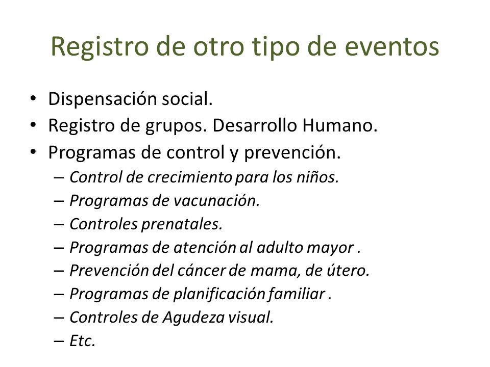 Registro de otro tipo de eventos Dispensación social. Registro de grupos. Desarrollo Humano. Programas de control y prevención. – Control de crecimien