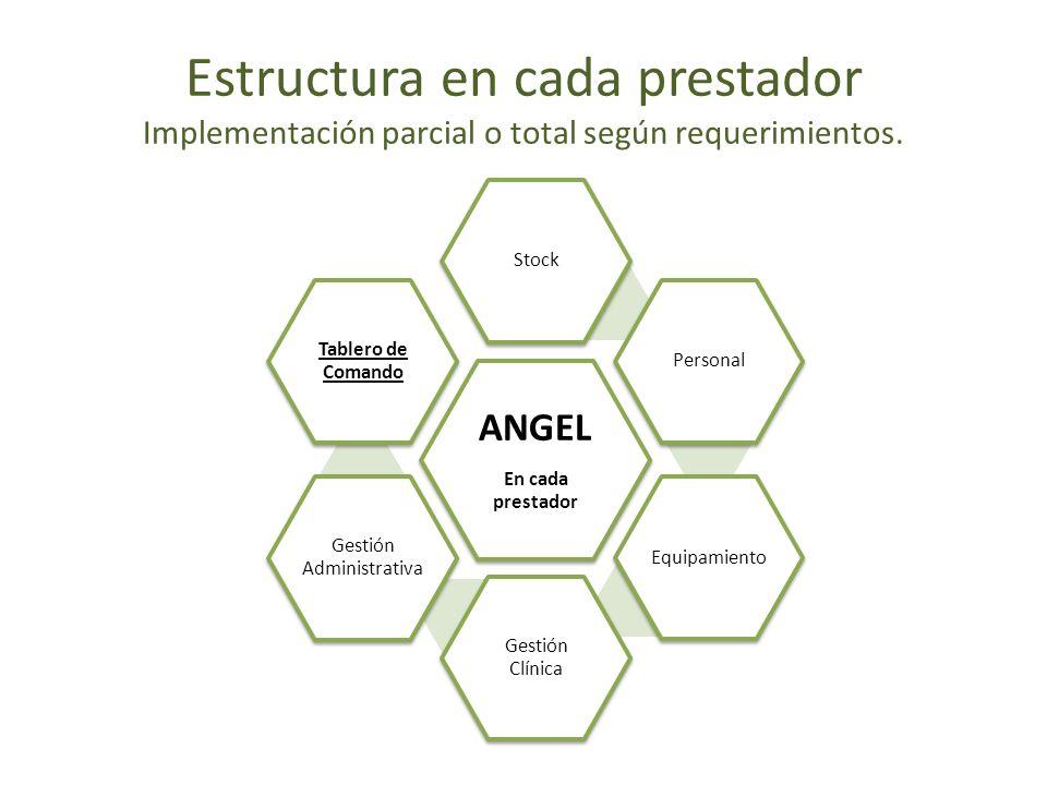 ANGEL En cada prestador StockPersonalEquipamiento Gestión Clínica Gestión Administrativa Tablero de Comando Estructura en cada prestador Implementació