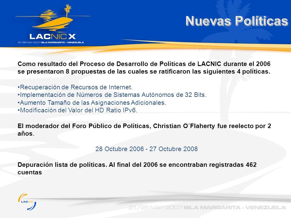 Nuevas Políticas Como resultado del Proceso de Desarrollo de Políticas de LACNIC durante el 2006 se presentaron 8 propuestas de las cuales se ratifica