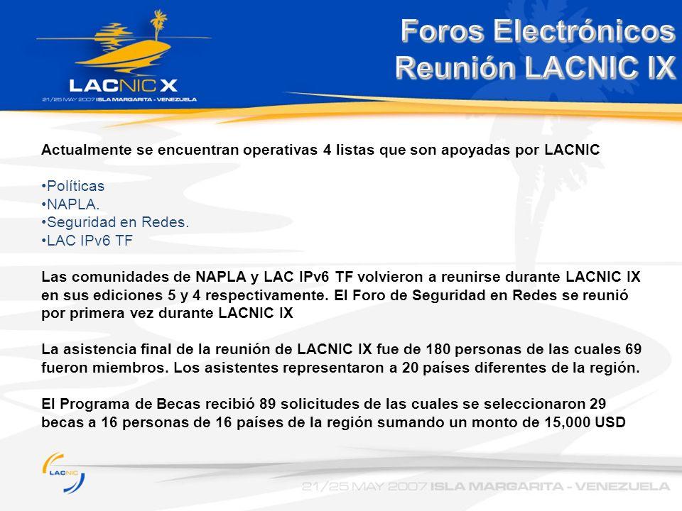 Actualmente se encuentran operativas 4 listas que son apoyadas por LACNIC Políticas NAPLA. Seguridad en Redes. LAC IPv6 TF Las comunidades de NAPLA y