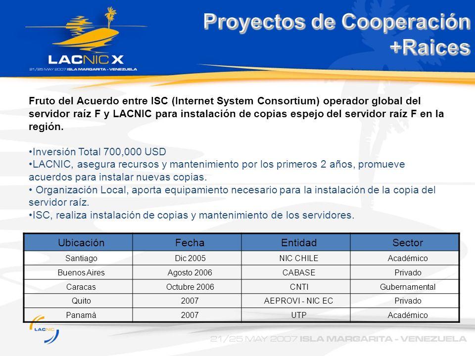 Proyectos de Cooperación +Raices Fruto del Acuerdo entre ISC (Internet System Consortium) operador global del servidor raíz F y LACNIC para instalació