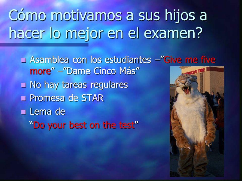 Cómo motivamos a sus hijos a hacer lo mejor en el examen? Asamblea con los estudiantes –Give me five more –Dame Cinco Más Asamblea con los estudiantes