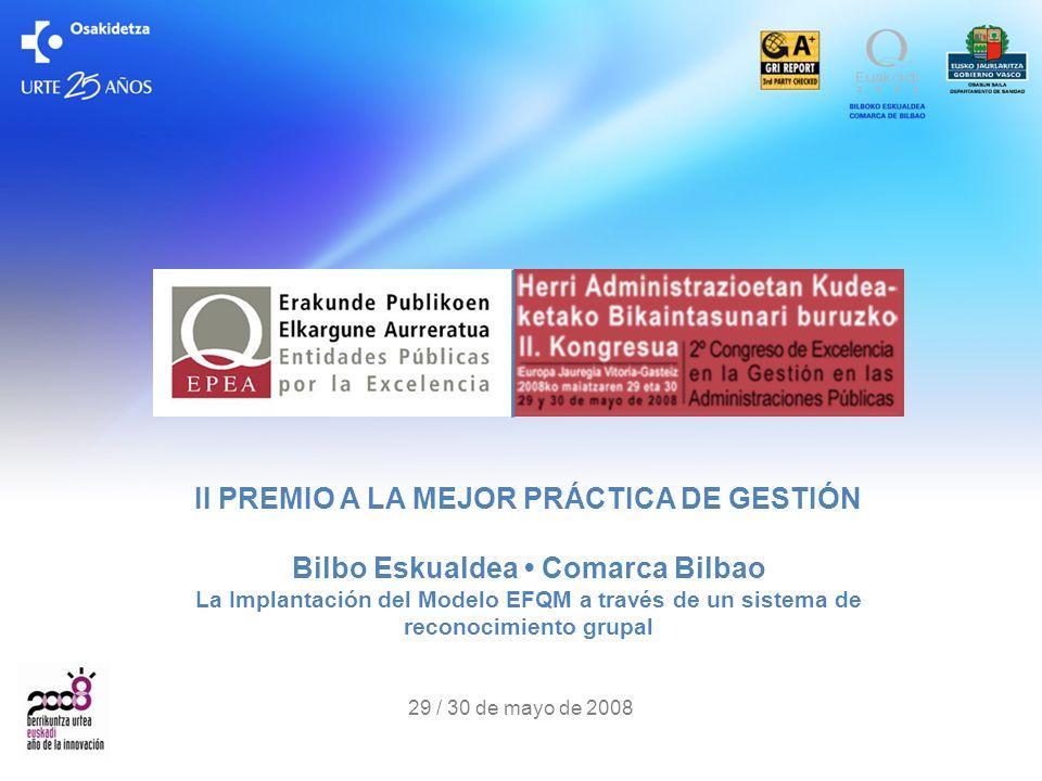 II PREMIO A LA MEJOR PRÁCTICA DE GESTIÓN Bilbo Eskualdea Comarca Bilbao La Implantación del Modelo EFQM a través de un sistema de reconocimiento grupa