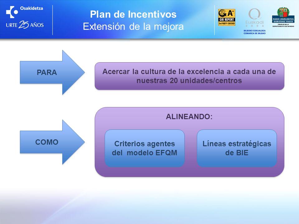 Plan de Incentivos Extensión de la mejora PARA COMO Acercar la cultura de la excelencia a cada una de nuestras 20 unidades/centros ALINEANDO: Criterio