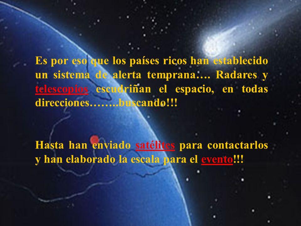Es por eso que los países ricos han establecido un sistema de alerta temprana…. Radares y telescopios escudriñan el espacio, en todas direcciones……..b
