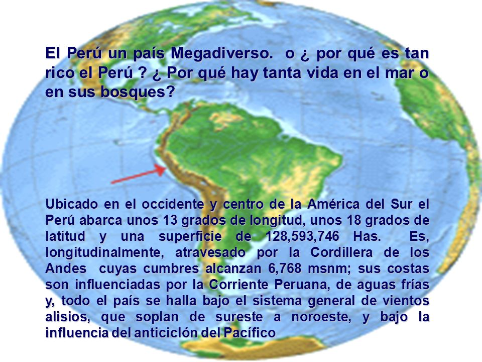 El Perú un país Megadiverso. o ¿ por qué es tan rico el Perú ? ¿ Por qué hay tanta vida en el mar o en sus bosques? Ubicado en el occidente y centro d