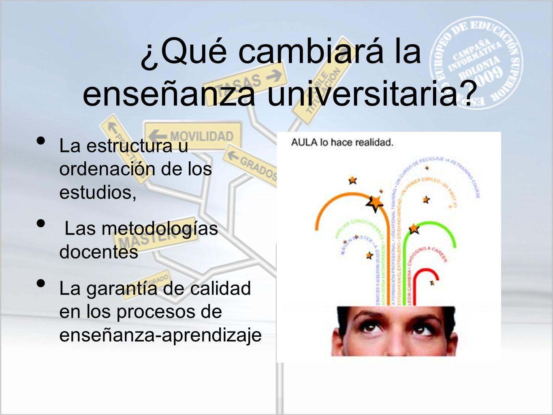 ¿Qué cambiará la enseñanza universitaria? La estructura u ordenación de los estudios, Las metodologías docentes La garantía de calidad en los procesos