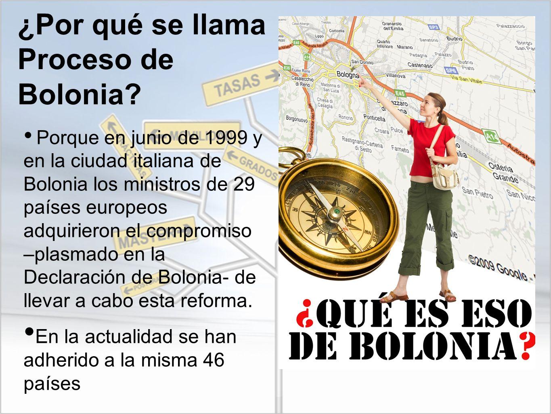 ¿Por qué se llama Proceso de Bolonia? Porque en junio de 1999 y en la ciudad italiana de Bolonia los ministros de 29 países europeos adquirieron el co