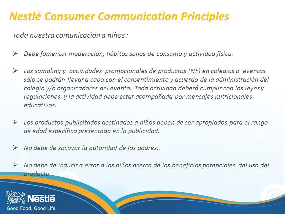 Nestlé Consumer Communication Principles Toda nuestra comunicación a niños : Debe fomentar moderación, hábitos sanos de consumo y actividad física. Lo
