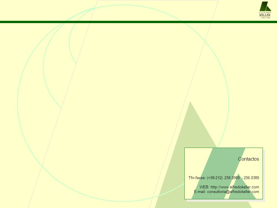 Contactos Tfn-faxes: (+58-212) 258.0989 - 256.0389 WEB: http://www.alfredokeller.com E-mail: consultoria@alfredokeller.com A L F R E D O KELLER y A S