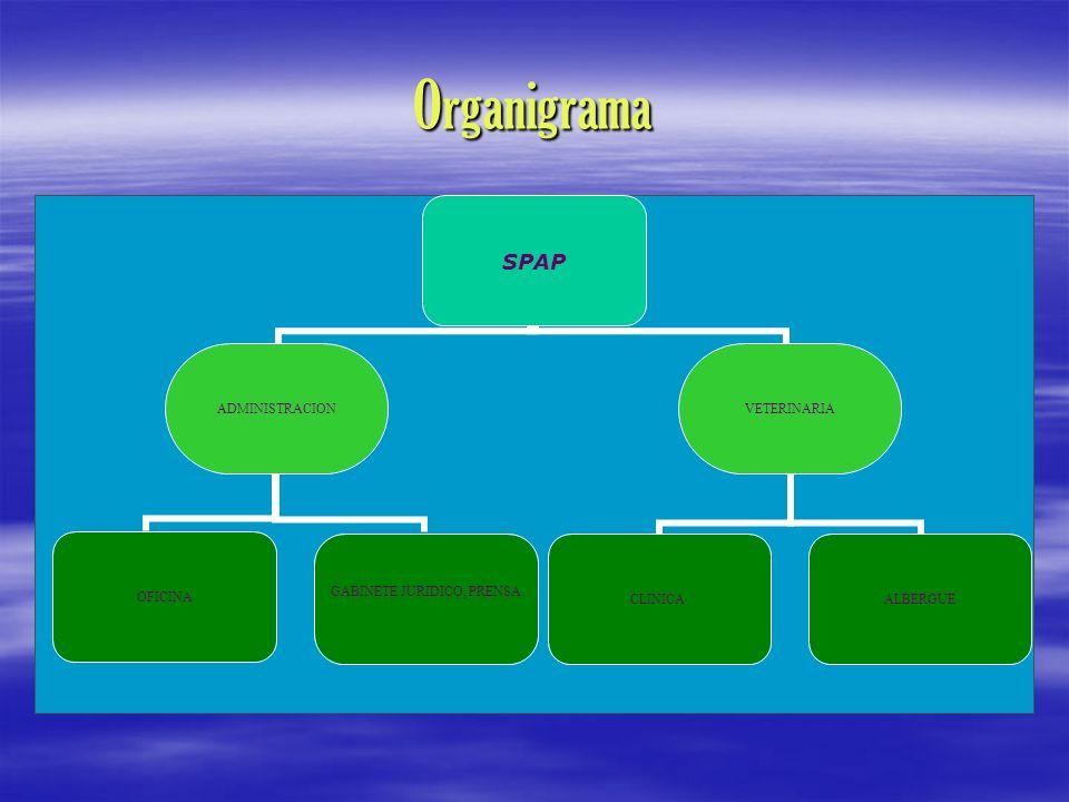 Organigrama SPAP ADMINISTRACION OFICINA GABINETE JURIDICO, PRENSA VETERINARIA CLINICAALBERGUE