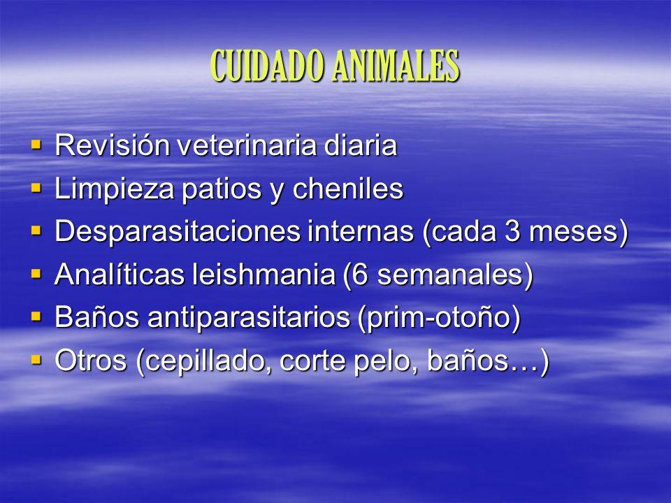 CUIDADO ANIMALES Revisión veterinaria diaria Revisión veterinaria diaria Limpieza patios y cheniles Limpieza patios y cheniles Desparasitaciones inter