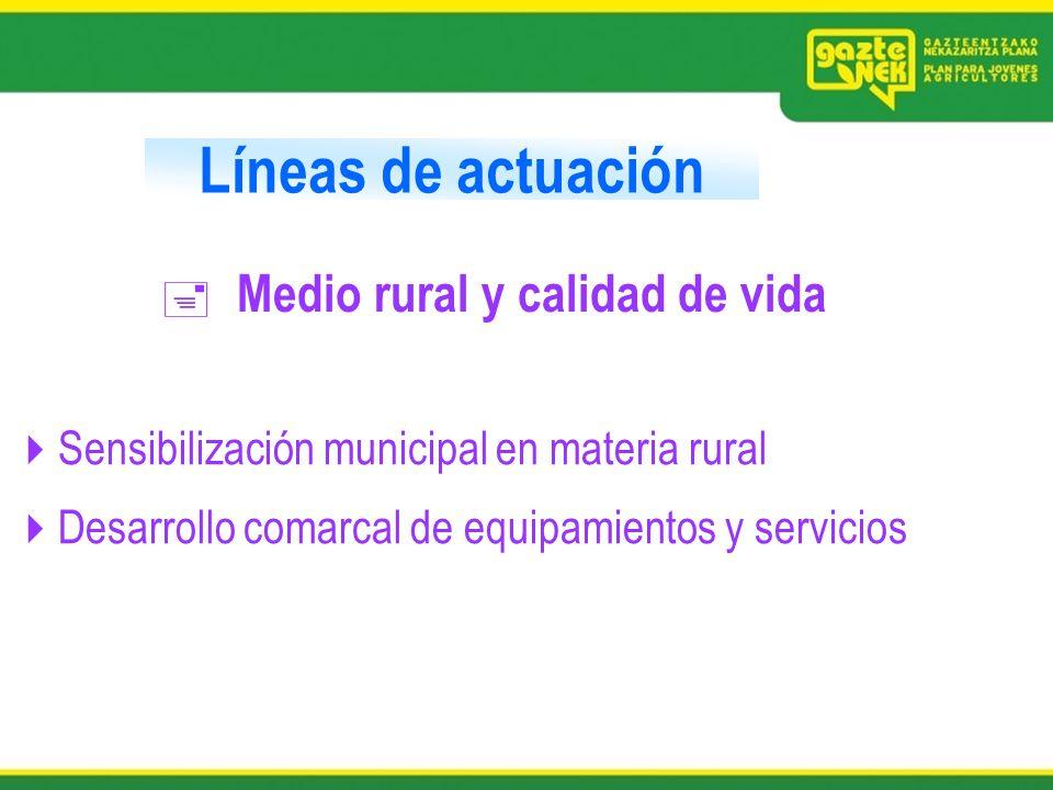 Líneas de actuación Medio rural y calidad de vida Sensibilización municipal en materia rural Desarrollo comarcal de equipamientos y servicios