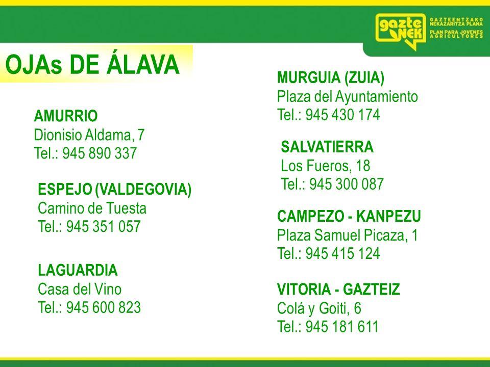 OJAs DE ÁLAVA AMURRIO Dionisio Aldama, 7 Tel.: 945 890 337 ESPEJO (VALDEGOVIA) Camino de Tuesta Tel.: 945 351 057 LAGUARDIA Casa del Vino Tel.: 945 60