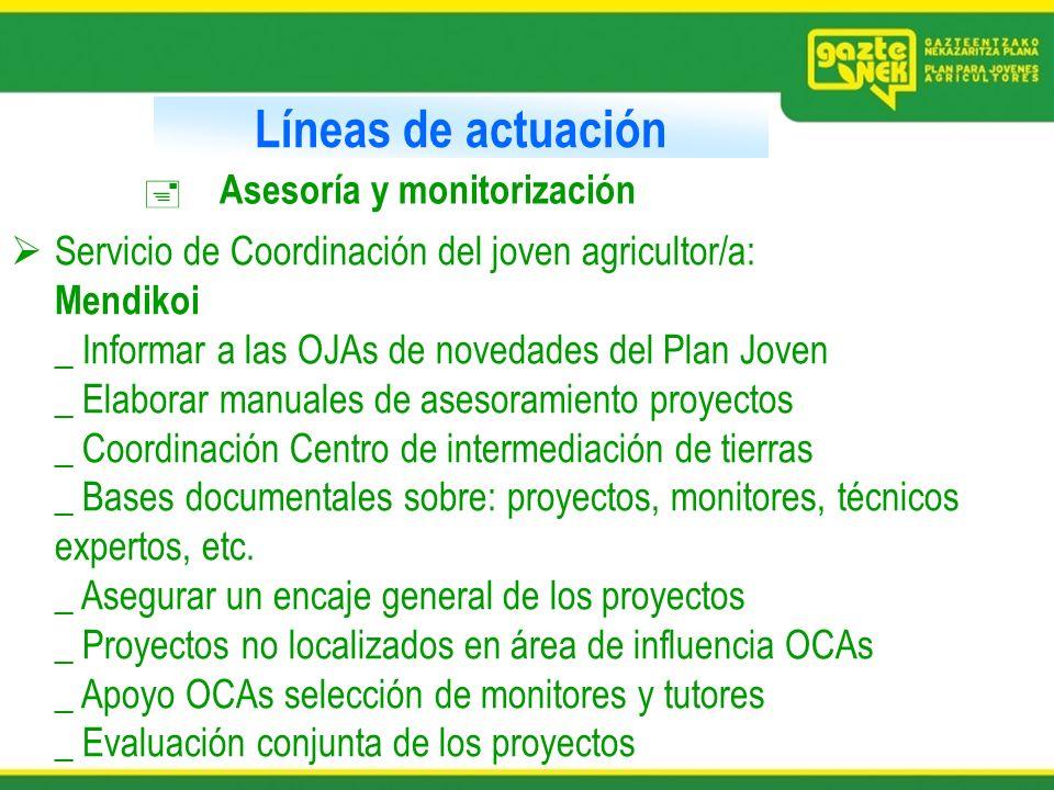 Líneas de actuación Asesoría y monitorización Servicio de Coordinación del joven agricultor/a: Mendikoi _ Informar a las OJAs de novedades del Plan Jo