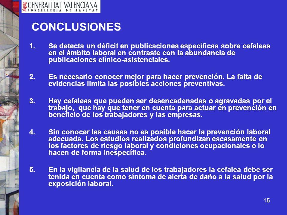 15 CONCLUSIONES 1.Se detecta un déficit en publicaciones específicas sobre cefaleas en el ámbito laboral en contraste con la abundancia de publicacion