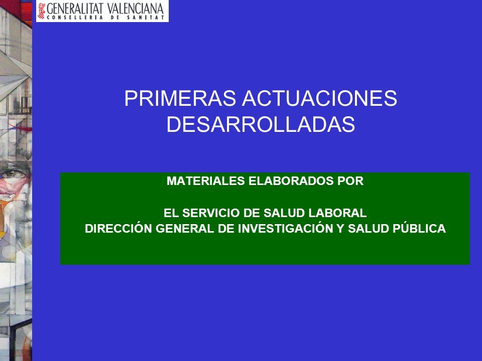 PRIMERAS ACTUACIONES DESARROLLADAS MATERIALES ELABORADOS POR EL SERVICIO DE SALUD LABORAL DIRECCIÓN GENERAL DE INVESTIGACIÓN Y SALUD PÚBLICA