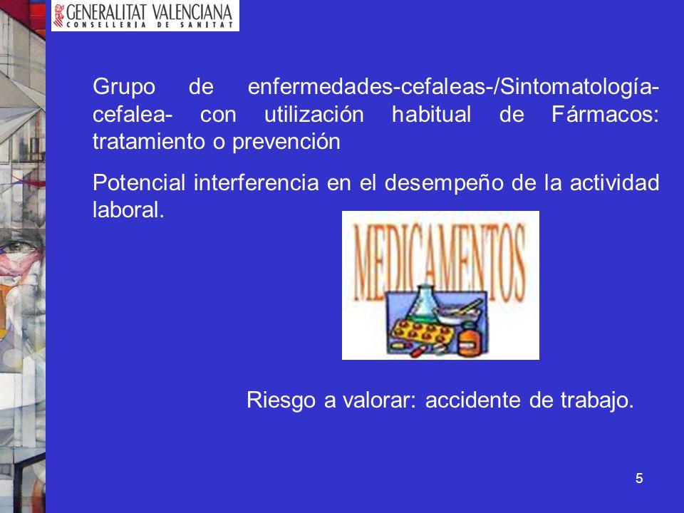 6 En la Comunidad Valenciana GRUPO DE TRABAJO SOBRE CEFALEAS, promovido por el Servicio de Salud Laboral de la Dirección General de Salud Pública de la Conselleria de Sanidad, a propuesta de AEPAC y en el que participan entre otros las asociaciones y sociedades profesionales de Medicina del Trabajo.