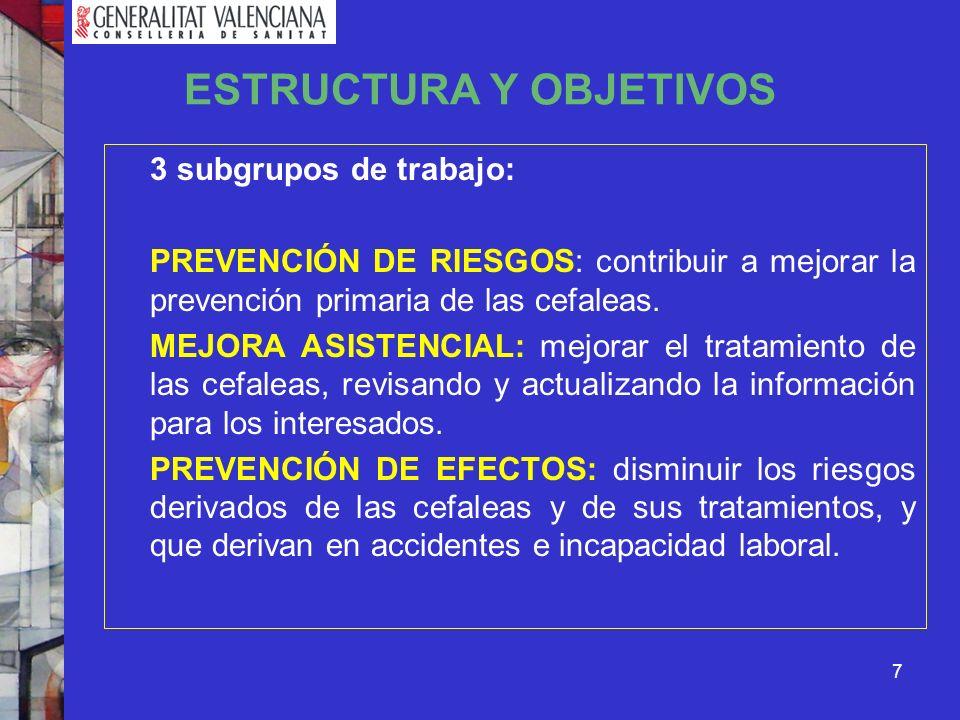 7 ESTRUCTURA Y OBJETIVOS 3 subgrupos de trabajo: PREVENCIÓN DE RIESGOS: contribuir a mejorar la prevención primaria de las cefaleas. MEJORA ASISTENCIA
