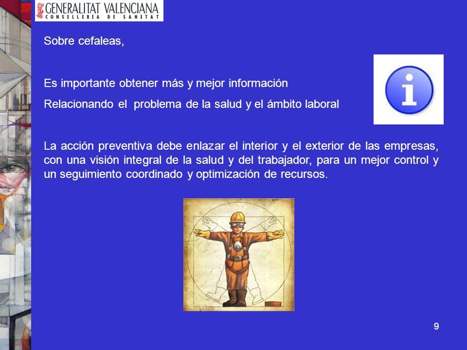 9 Sobre cefaleas, Es importante obtener más y mejor información Relacionando el problema de la salud y el ámbito laboral La acción preventiva debe enl