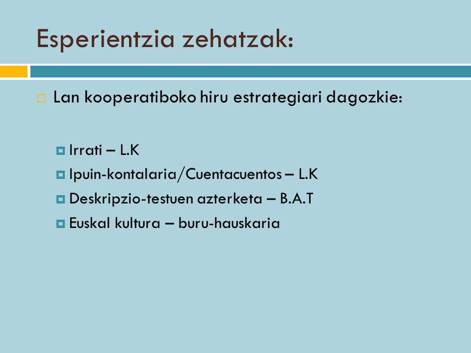 Esperientzia zehatzak: Lan kooperatiboko hiru estrategiari dagozkie: Irrati – L.K Ipuin-kontalaria/Cuentacuentos – L.K Deskripzio-testuen azterketa –