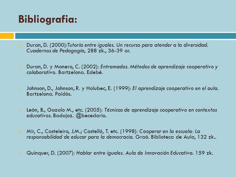 Bibliografia: Duran, D. (2000):Tutoría entre iguales. Un recurso para atender a la diversidad. Cuadernos de Pedagogía, 288 zk., 36-39 or. Duran, D. y
