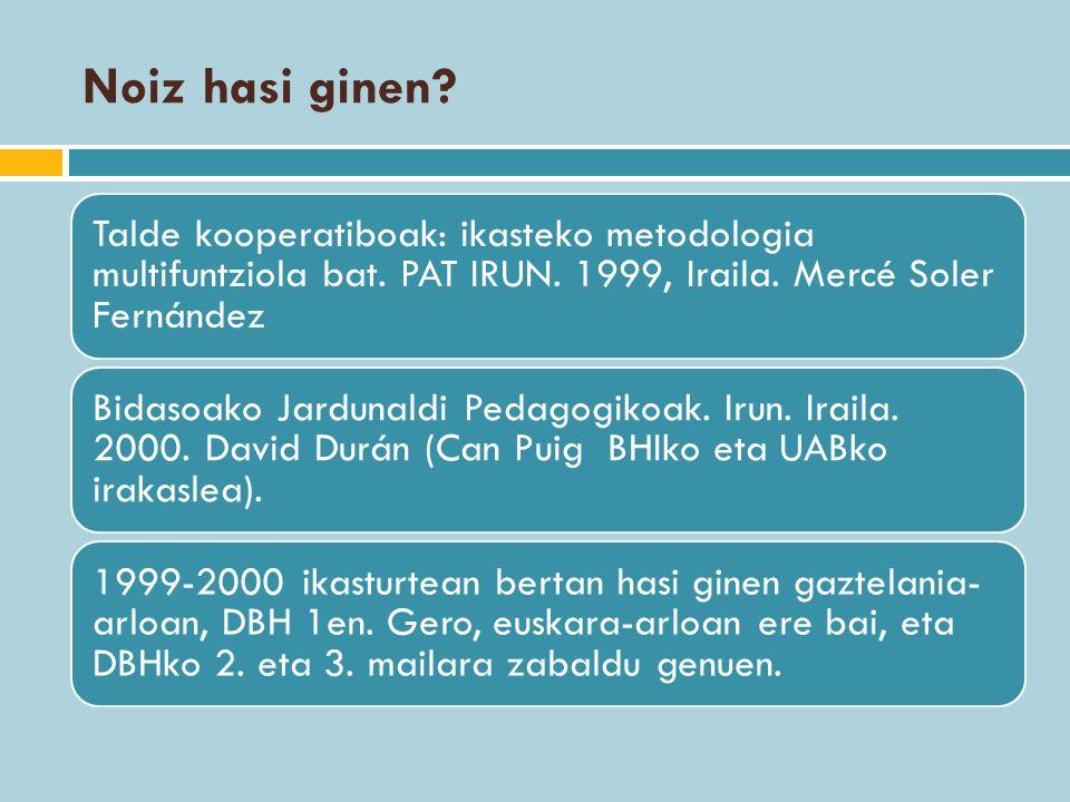 Noiz hasi ginen? Talde kooperatiboak: ikasteko metodologia multifuntziola bat. PAT IRUN. 1999, Iraila. Mercé Soler Fernández Bidasoako Jardunaldi Peda