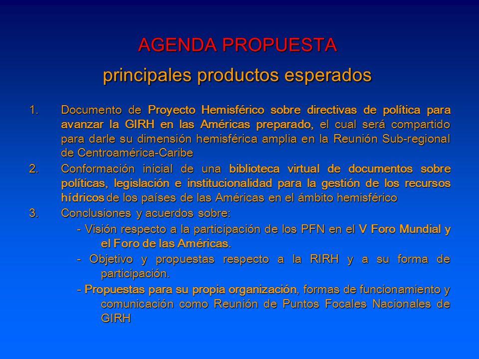 AGENDA PROPUESTA principales productos esperados 1.Documento de Proyecto Hemisférico sobre directivas de política para avanzar la GIRH en las Américas