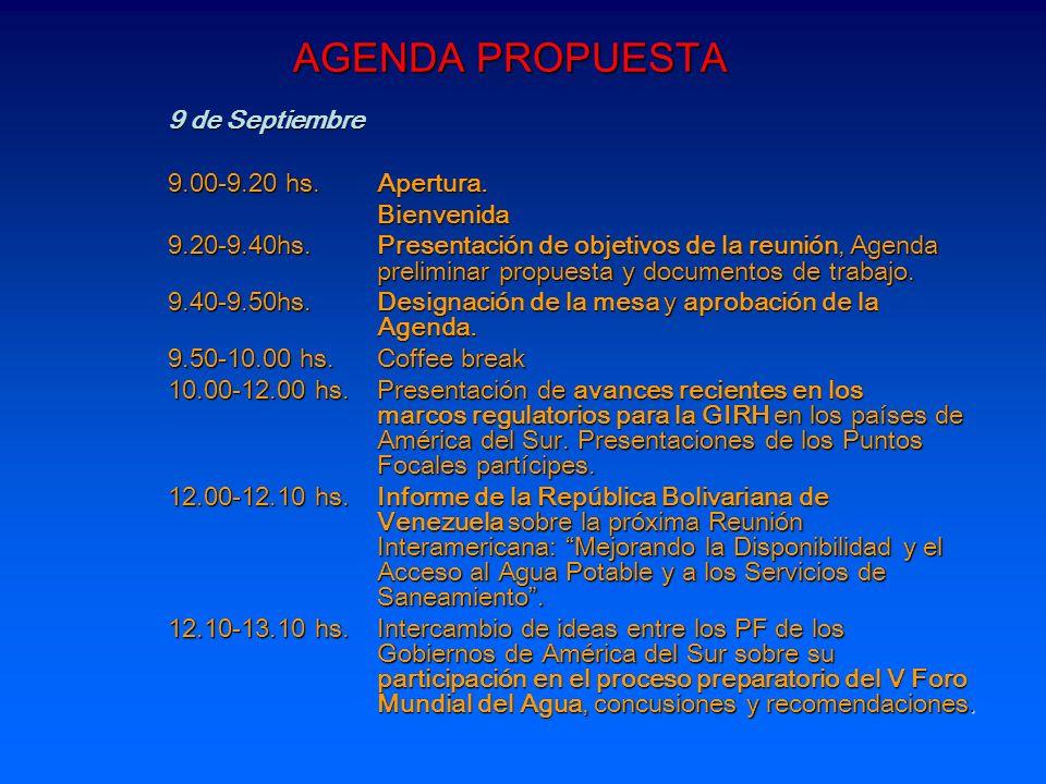AGENDA PROPUESTA 9 de Septiembre 9.00-9.20 hs. Apertura. Bienvenida 9.20-9.40hs.Presentación de objetivos de la reunión, Agenda preliminar propuesta y