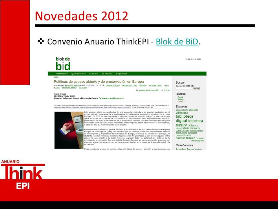 Novedades 2012 Convenio Anuario ThinkEPI - Blok de BiD.Blok de BiD