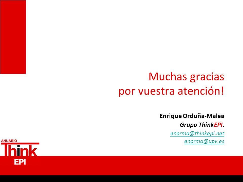 Muchas gracias por vuestra atención! Enrique Orduña-Malea Grupo ThinkEPI. enorma@thinkepi.net enorma@upv.es