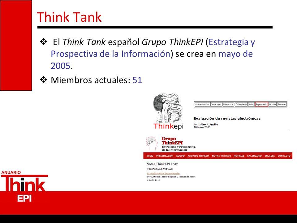Think Tank El Think Tank español Grupo ThinkEPI (Estrategia y Prospectiva de la Información) se crea en mayo de 2005. Miembros actuales: 51