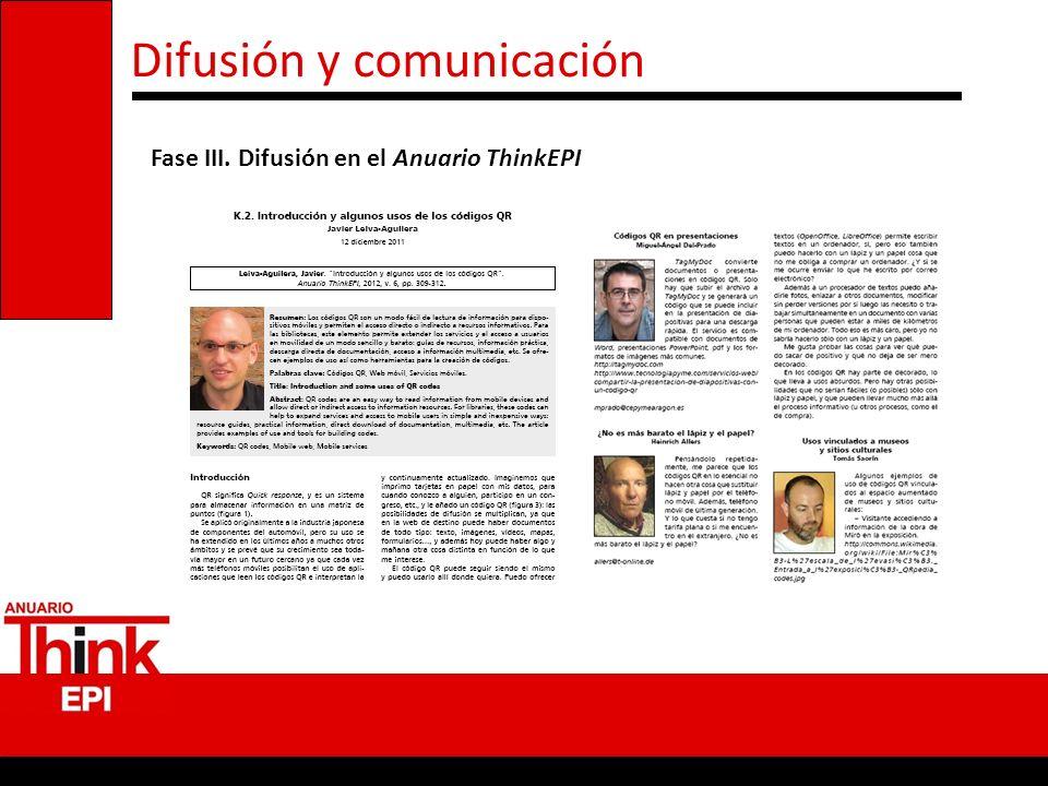 Difusión y comunicación Fase III. Difusión en el Anuario ThinkEPI