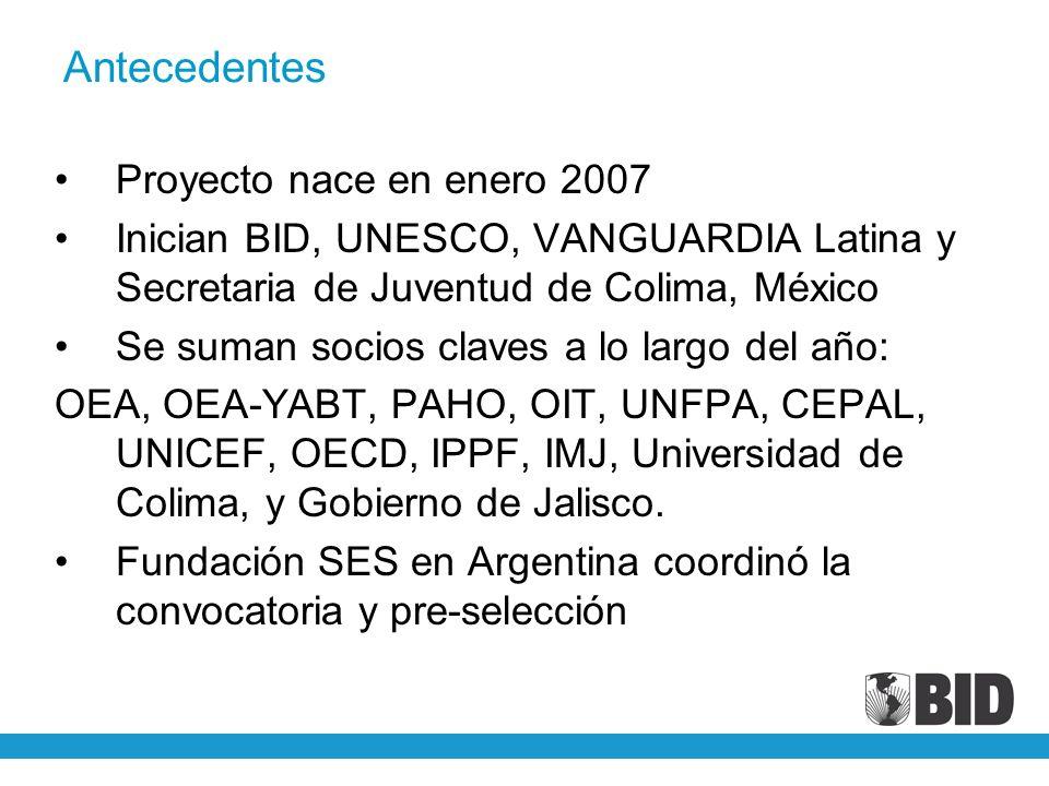 Antecedentes Proyecto nace en enero 2007 Inician BID, UNESCO, VANGUARDIA Latina y Secretaria de Juventud de Colima, México Se suman socios claves a lo