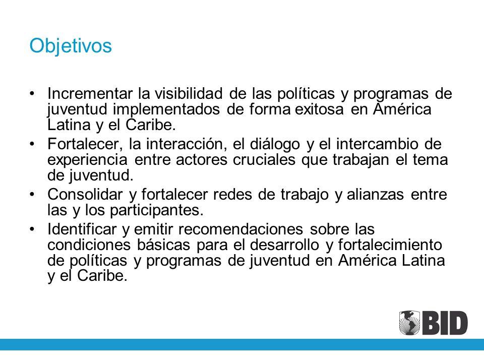 Objetivos Incrementar la visibilidad de las políticas y programas de juventud implementados de forma exitosa en América Latina y el Caribe. Fortalecer