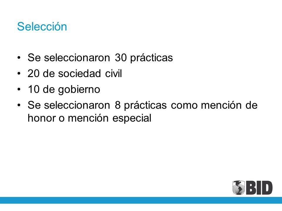 Selección Se seleccionaron 30 prácticas 20 de sociedad civil 10 de gobierno Se seleccionaron 8 prácticas como mención de honor o mención especial