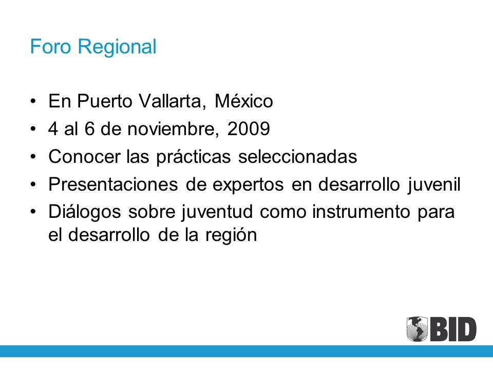 Foro Regional En Puerto Vallarta, México 4 al 6 de noviembre, 2009 Conocer las prácticas seleccionadas Presentaciones de expertos en desarrollo juveni
