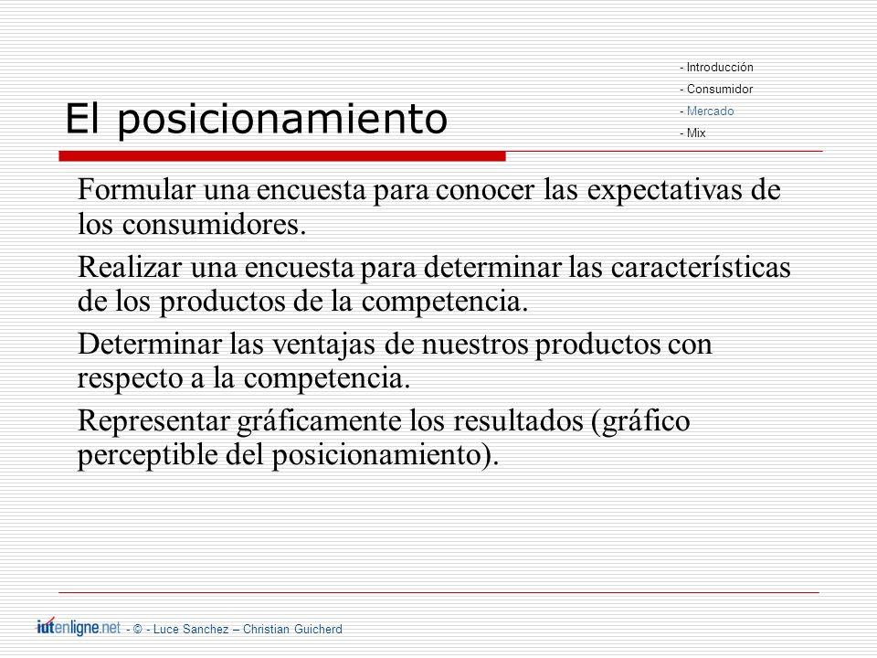 - © - Luce Sanchez – Christian Guicherd El posicionamiento Formular una encuesta para conocer las expectativas de los consumidores.